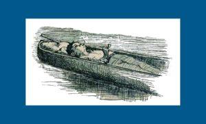 "Alte Illustration zu Mark Twains Roman ""Huckleberry Finn"""
